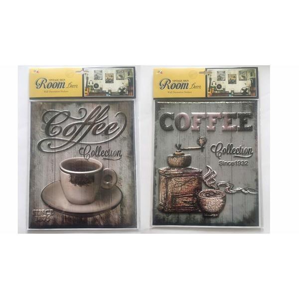 3D Vintage Wandsticker Kaffee Aufkleber - als Dekoration im Haus und Cafes 4 Stück Set