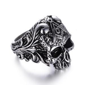 Deadhead Skull Totenkopf Ring Edelstahl Ring Biker Ring Gothic Silber für Herren Rocker Biker RE502 67 (21.3))