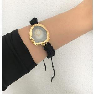 Damen-Armband Echt Achat weiß mit Goldrand Armband