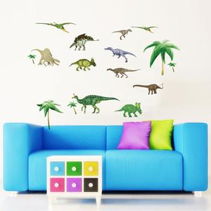 Wandsticker Dinosaurier Dino grün - Aufkleber für Wand Möbel Glas Metal glatte Fläche