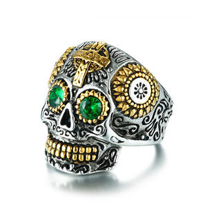 Deadhead Skull Totenkopf Ring Biker Ring Gothic Silber für Herren und Biker RZ603 (62 (19.7))