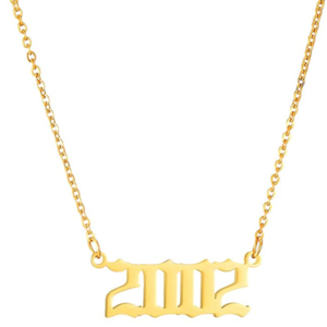 Damen Geburtsjahr Halskette gold 2002 aus Edelstahl ideales Geschenk