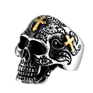 Deadhead Skull Totenkopf Ring Biker Ring Gothic Silber für Herren und Biker RZ604 (57 (18.1))
