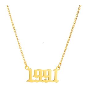 Damen Geburtsjahr Halskette gold 1991 aus Edelstahl ideales Geschenk