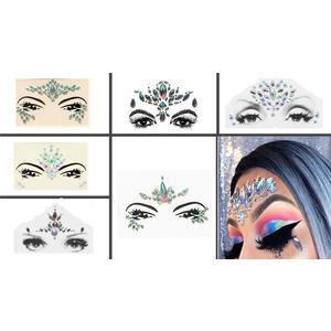 Glitzer Gesicht Juwelen und Körper Juwelen Glitter MAKE-UP 6 Stück Set Rainbow 6