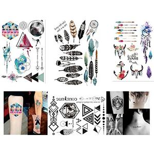 4 Bögen temporäre Tattoos - Flash Tattoos Set2 - geometrische Linien / Wasserfarben / Traumfänger
