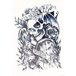 Totenkopf Rosen - temporäres Fake Tattoo hb049