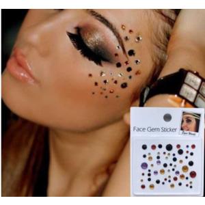 Gesicht Schmuck Aufkleber mehrfarbige runde Steinchen MAKE-UP für Party Shows FG09 bunt