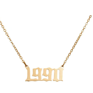Damen Geburtsjahr Halskette gold 1990 aus Edelstahl ideales Geschenk