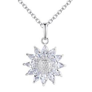Halskette mit Blumen Anhänger Silber A12