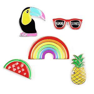Brosche / Anstecknadel / Pins - 5 Stück Set - Ananas, Sonnenbrille, Tukan, Wassermelone, Regenbogen