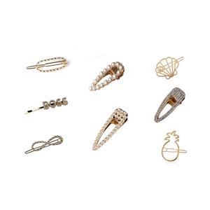 8 Stück modische gold Haarspange Haarschmuck Haarclip Kopfschmuck Perlen Haarspange Set beige