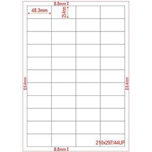 100 Blatt DIN A4 Format Etiketten papier 44x pro Blatt 48,5 x 25,4 mm
