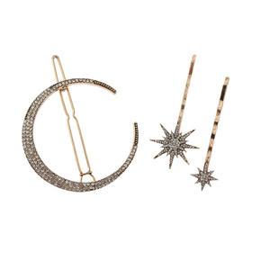 3 Stück Mond und Stern Haarspange Haarschmuck Haarclip Kopfschmuck Ha64 antik gold