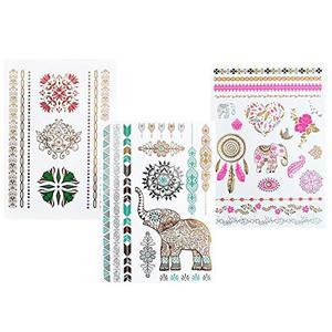 Elefanten, Mandala,Traumfänger - temporäre Fake Tattoos - 3 Bögen Set