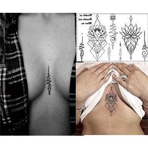 Linien - geometrisches temporäres Brust Tattoo nr603