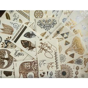 10 kleine Sheets temporäre Metallic Tattoos - Gold, Silber
