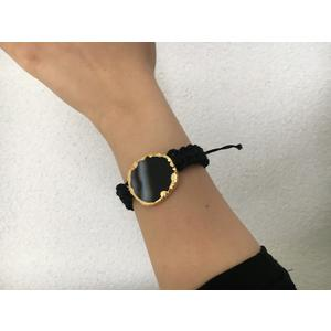 Damen-Armband Echt Achat schwarz mit Goldrand Armband