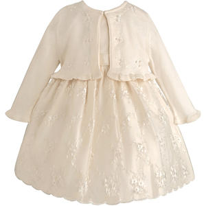 Organza Baby Petticoat Kleid inkl. Langarm-Bolero in ivory