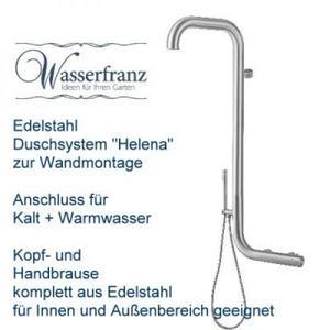Wasserfranz Gartendusche 'Helena' Edelstahl kalt/warm zur Wandmontage