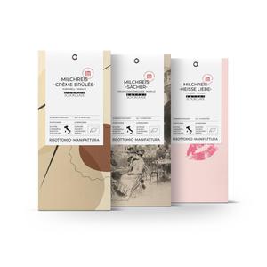 Milchreis-Bio Mischungen Schoko Aprikose, Himbeer Weiße Schoko, Karamell (3x 250 g)