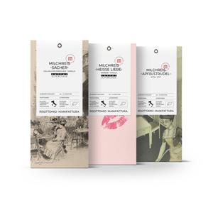 Milchreis-Bio Mischungen Apfel Zimt, Schoko Aprikose, Himbeer Weiße Schoko (3x 250 g)