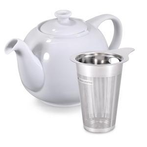 Urban Lifestyle Teekanne/Teapot Liverpool Klassisch Englische Form aus Keramik 2 L (Weiß, mit Filter)