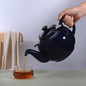 Urban Lifestyle Teekanne/Teapot Liverpool Klassisch Englische Form aus Keramik 2 L (Marineblau, ohne Filter)