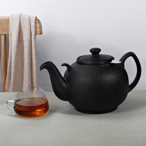 Urban Lifestyle Teekanne/Teapot Liverpool Klassisch Englische Form aus Keramik 2 L (Black Lava, mit Filter)