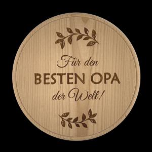 """Regional gedrechseltes Jausenbrett mit Gravur - """"Für den besten Opa der Welt!"""""""
