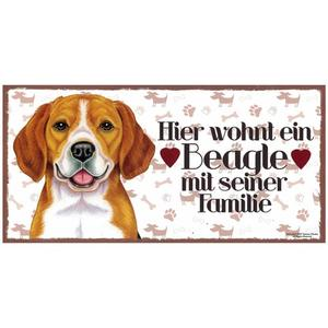 "Tierschild aus Holz, Motiv ""Beagle"""