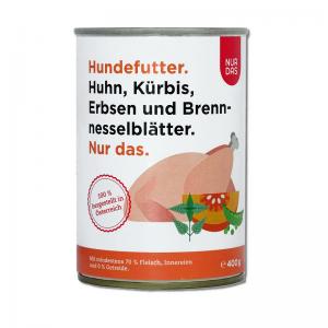 NUR DAS Huhn mit Erbsen, Kürbis und Brennesselblätter 6x800g
