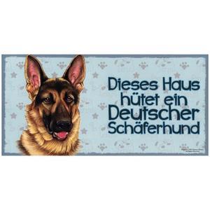 """Tierschild aus Holz, Motiv """"Deutscher Schäferhund (Dieses Haus...)"""""""