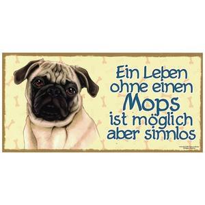 """Tierschild aus Holz, Motiv """"Mops"""""""