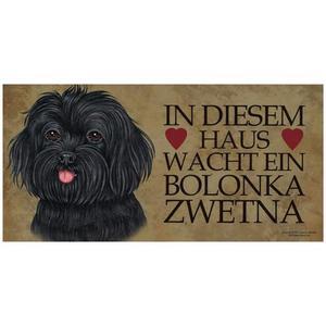 """Tierschild aus Holz, Motiv """"Bolonka Zwetna"""""""