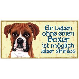 "Tierschild aus Holz, Motiv ""Boxer"""