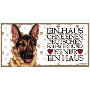 """Tierschild aus Holz, Motiv """"Deutscher Schäferhund (Ein Haus..)"""""""