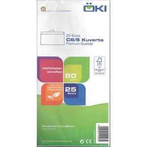 Kuvert C5/6 weiß, ohne Fenster, Haftklebestreifen (VPE=25STK)