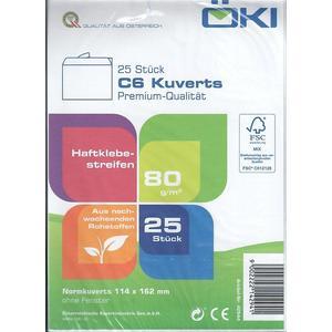Kuvert C6 weiß, ohne Fenster, Haftklebestreifen (VPE=25STK)
