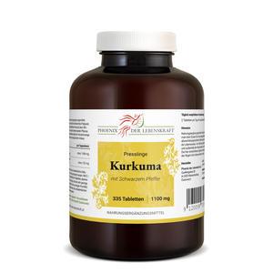 Kurkuma + Schwarzer Pfeffer Tabletten à 1100mg (Curcuma, Curcumin+Piperin), 335 Tabletten