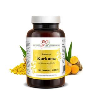 Kurkuma + Schwarzer Pfeffer Tabletten à 1100mg (Curcuma, Curcumin+Piperin), 185 Tabletten