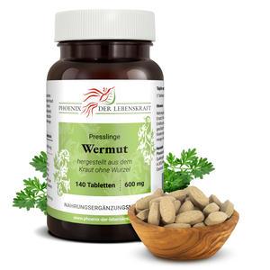 Wermut Tabletten à 600mg, 140 Tabletten, (Artemisia absinthium, bitterer Beifuß)