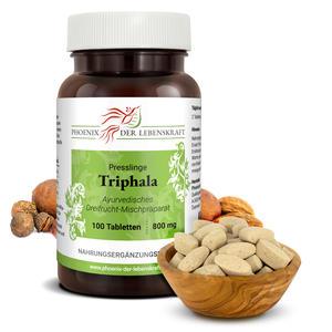Triphala Tabletten à 800mg (Haritaki, Amalaki und Bibhitaki), 100 Tabletten