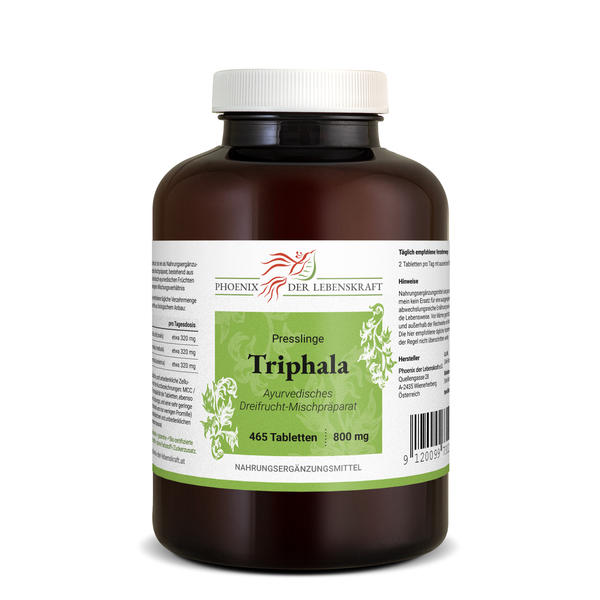Triphala Tabletten à 800mg (Haritaki, Amalaki und Bibhitaki), 465 Tabletten