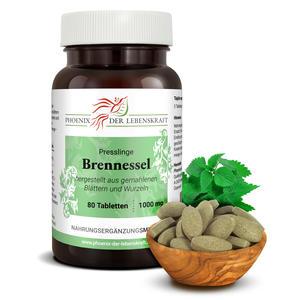 Brennessel Tabletten à 1000mg (Urtica dioica, Brennnessel), 80 Tabletten