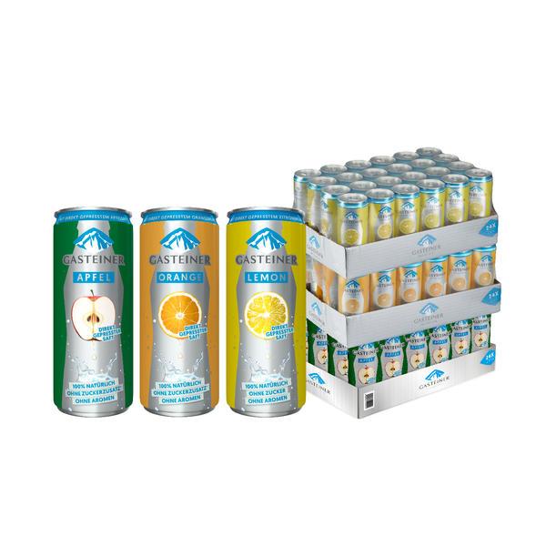 Gasteiner Sortenmix (Apfel, Orange, Lemon) 72 x 0,33L Dose - 3 Trays