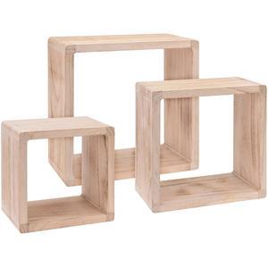 Dekoratives Holz Wandregal, 3 Stück im Set - Regalwürfel