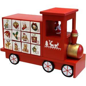 Adventskalender Zug 27x19x10cm - Weihnachtszug Holzzug