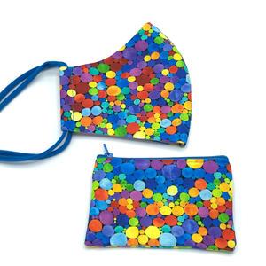 Mund-Nasen-Maske - Damen, Bubbles (heller) - MNS mit Tasche aus Baumwollstoff