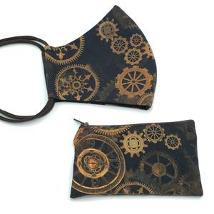 Mund-Nasen-Maske - Herren, Zahnräder - MNS mit Tasche aus Baumwollstoff